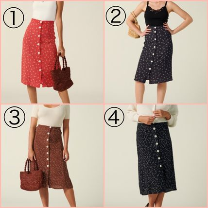 Flower Patterns Dots Elegant Style Skirts