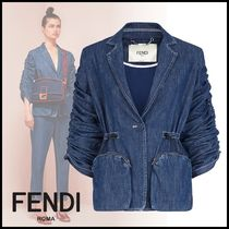 FENDI Casual Style Denim Plain Medium Jackets