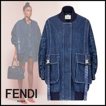 FENDI Denim Street Style Plain Medium Oversized Jackets
