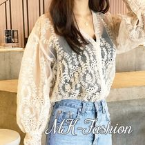 Flower Patterns Lace-up Casual Style Long Sleeves Medium