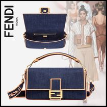 FENDI BAGUETTE Denim 3WAY Elegant Style Crossbody Logo Shoulder Bags