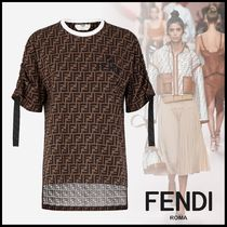 FENDI Crew Neck Short Monogram Cotton Short Sleeves Oversized