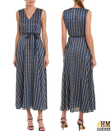 Other Check Patterns Casual Style Maxi Sleeveless V-Neck