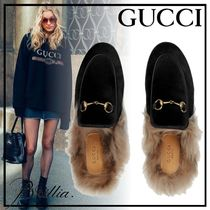 GUCCI Princetown Casual Style Velvet Blended Fabrics Plain Slippers Sandals