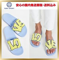 TORY SPORT Open Toe Rubber Sole Plain Footbed Sandals Elegant Style