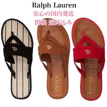 Ralph Lauren Open Toe Rubber Sole Casual Style Plain Flip Flops