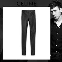 CELINE Casual Style Plain Leather Long Leather & Faux Leather Pants