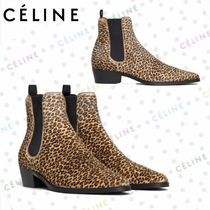 CELINE Leopard Patterns Round Toe Casual Style Leather