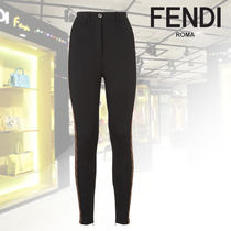 FENDI Monogram Casual Style Street Style Plain Long Skinny Pants