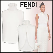 FENDI Short Sleeveless Plain Cotton Elegant Style