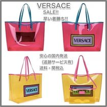 VERSACE Casual Style A4 PVC Clothing Totes