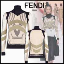 FENDI Rib Long Sleeves Medium High-Neck Elegant Style Sweaters