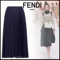 FENDI Wool Pleated Skirts Plain Medium Elegant Style Midi Skirts