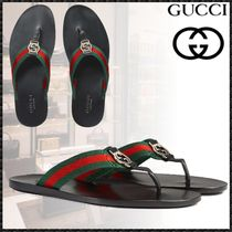 GUCCI Stripes Unisex Blended Fabrics Leather Shower Shoes