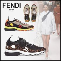 FENDI Monogram Round Toe Rubber Sole Casual Style Street Style