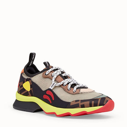 FENDI Low-Top Monogram Round Toe Rubber Sole Casual Style Street Style 7