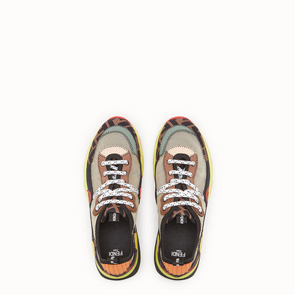 FENDI Low-Top Monogram Round Toe Rubber Sole Casual Style Street Style 9