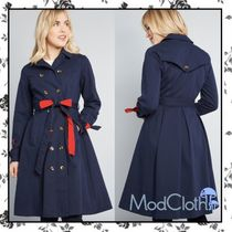 modcloth Casual Style Bi-color Plain Trench Coats