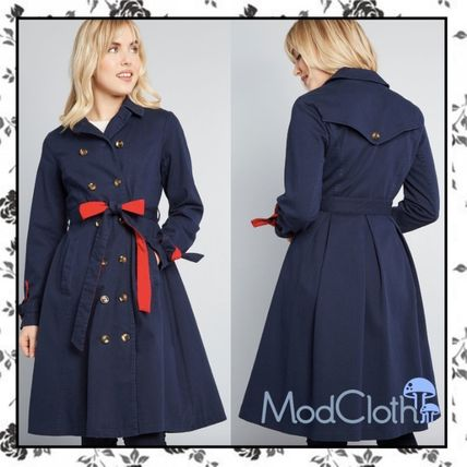 Casual Style Bi-color Plain Trench Coats