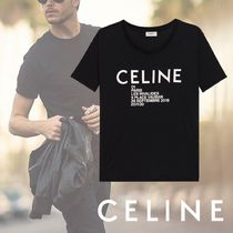 CELINE Crew Neck Plain Cotton Short Sleeves Crew Neck T-Shirts