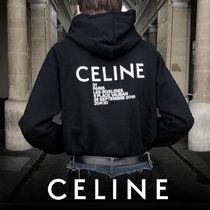 CELINE Street Style Long Sleeves Plain Cotton Hoodies