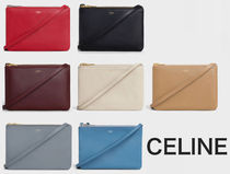 CELINE Trio Bag Monogram Leather Elegant Style Bold Shoulder Bags