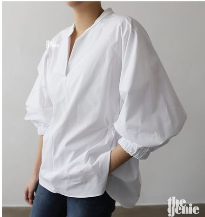 Casual Style Plain Cotton Medium Puff Sleeves