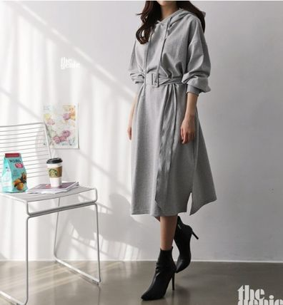 Casual Style A-line Long Sleeves Plain Cotton Long Oversized