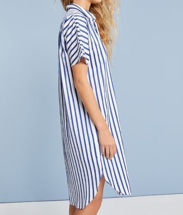 Stripes Casual Style Cotton Short Sleeves Shirt Dresses
