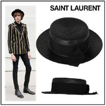 Saint Laurent Unisex Straw Boaters Straw Hats