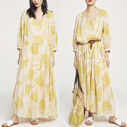 Tropical Patterns Casual Style Maxi V-Neck Long Dresses