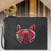 GUCCI Monogram Unisex Street Style Other Animal Patterns Leather