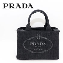 PRADA CANAPA Casual Style Unisex Canvas 2WAY Plain Handmade Totes