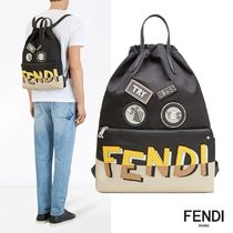 FENDI Plain Leather Backpacks