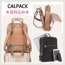CALPAK Faux Fur A4 Plain Office Style Backpacks