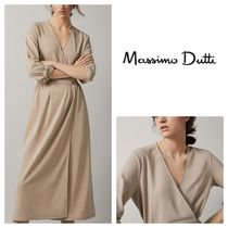 Massimo Dutti Wrap Dresses Casual Style V-Neck Long Sleeves Plain Long