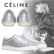 CELINE Rubber Sole Lace-up Casual Style Bi-color Plain Leather