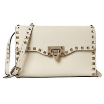 VALENTINO Plain Leather Elegant Style Shoulder Bags