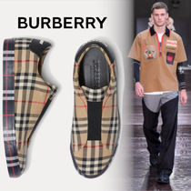 Burberry Other Check Patterns Blended Fabrics Street Style Leather