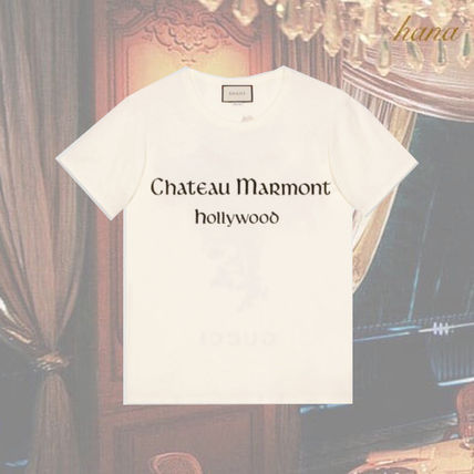 3745725a GUCCI 2019 Cruise Oversize t-shirt with Chateau Marmont print (493)