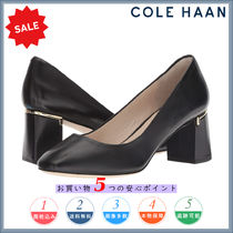 Cole Haan Square Toe Plain Leather Elegant Style Chunky Heels