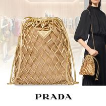 PRADA Casual Style Chain Leather Purses Shoulder Bags