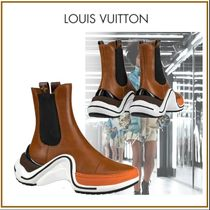 Louis Vuitton Plain Toe Rubber Sole Plain Leather Elegant Style
