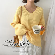 Casual Style Rib Long Sleeves Plain Medium Sweaters