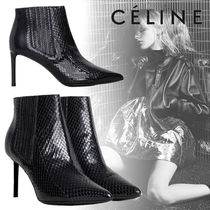 CELINE Leather Pin Heels Elegant Style Ankle & Booties Boots