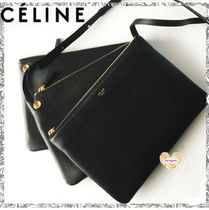 CELINE Trio Bag Plain Leather Elegant Style Shoulder Bags