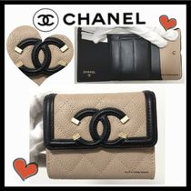 CHANEL ICON Unisex Calfskin Bi-color Plain Small Wallet Folding Wallets