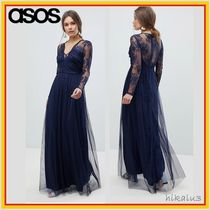 ASOS Flower Patterns Maxi V-Neck Long Sleeves Long Lace Dresses
