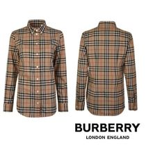 Burberry Tartan Casual Style Long Sleeves Cotton Shirts & Blouses