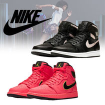 Nike Rubber Sole Lace-up Casual Style Plain Leather